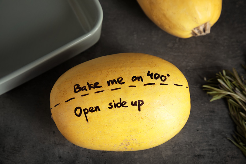 Whole spaghetti squash with baking instructions