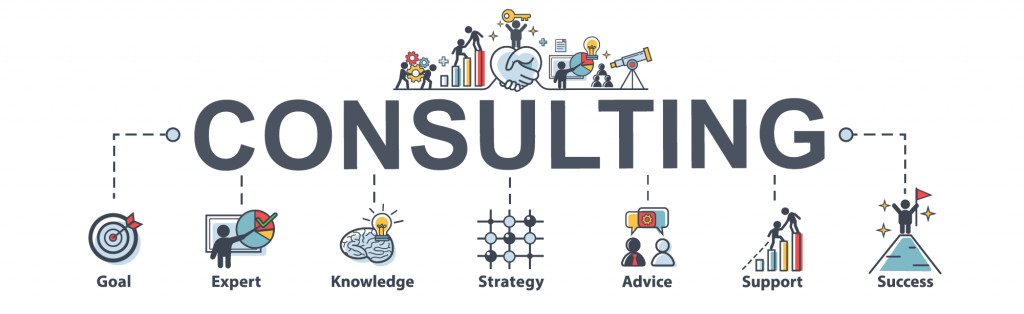 Consulting infographic banner with web icons