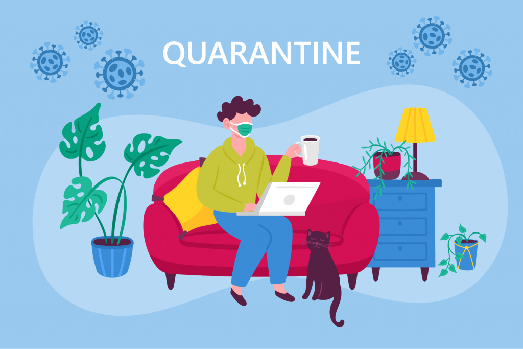 Man sitting on couch staying connected with family using laptop during quarantine