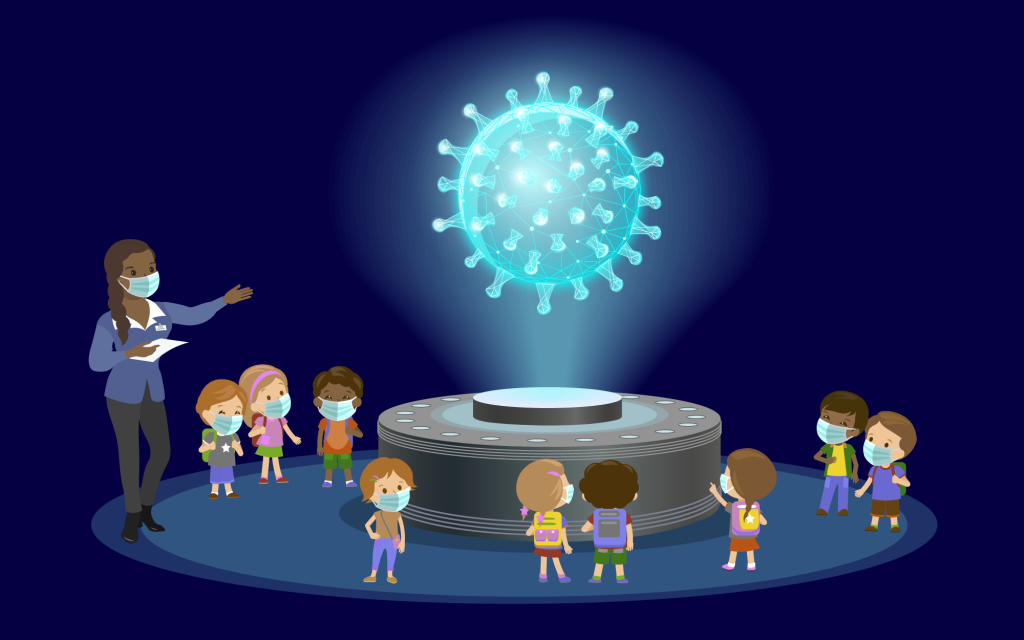 Illustration of woman talking to children about viruses