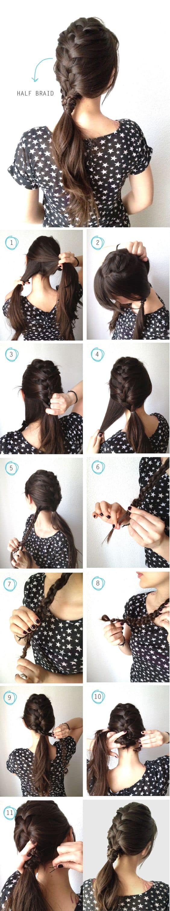 Ponytail without hair band - The Half Braid Half Ponytail Easy Hairstyle Tutorial For Sports