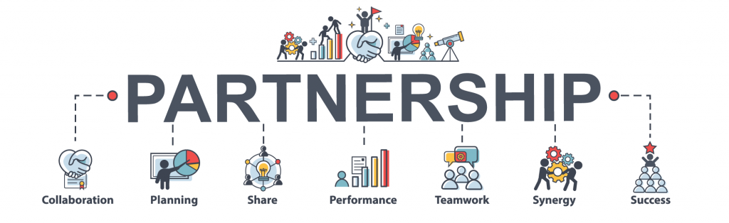 Business partnership infographic banner with web icons