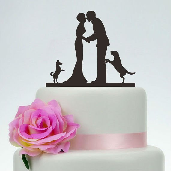 cat and dog wedding cake topper