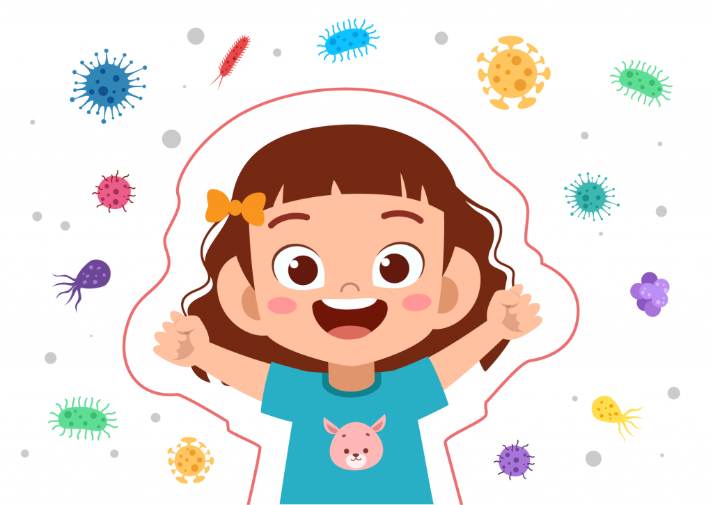 Happy child being protected from viruses by her immune system