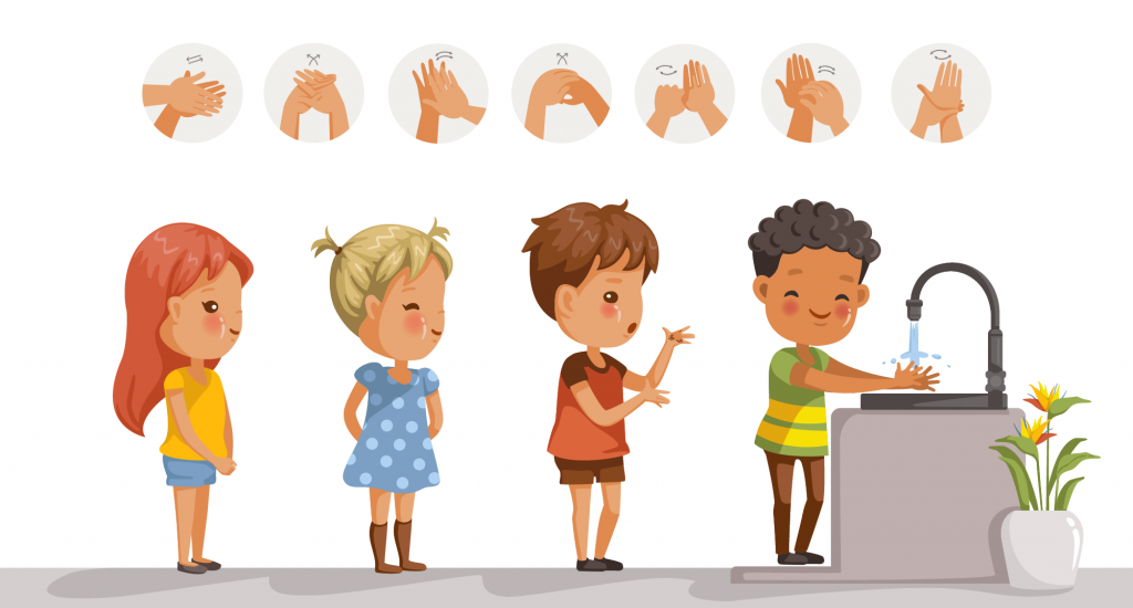 Illustration of children washing hands and how to do it correctly
