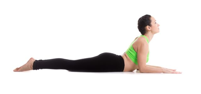 cobra pose for reducing roll of fat under the bra and rib cage fat