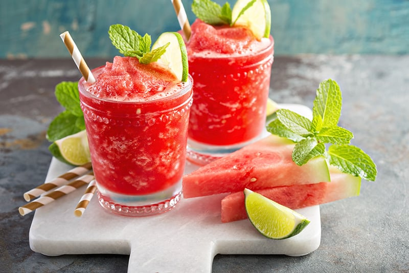 Cocktails with watermelon