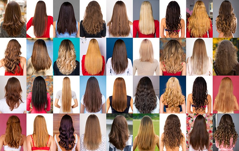 Collage of different types of female hairstyles