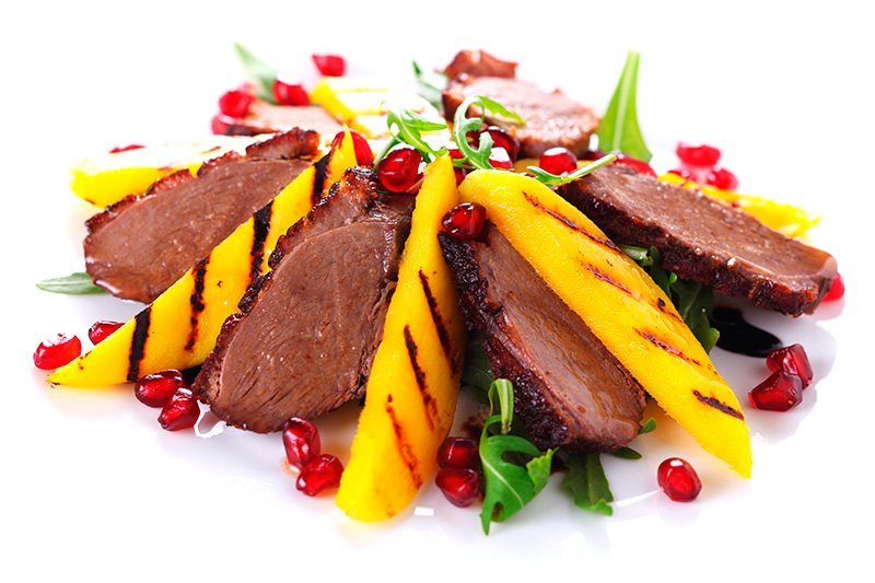 Duck fillet with grilled mango