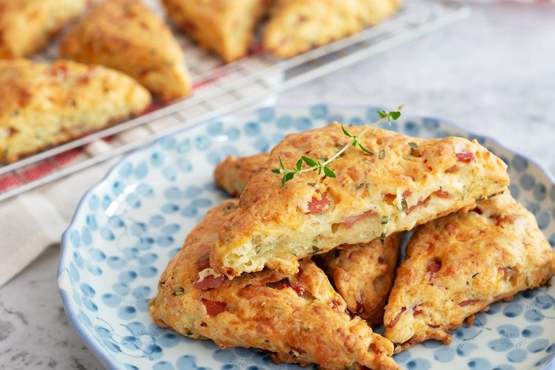 scones with vegetables and ham cubes