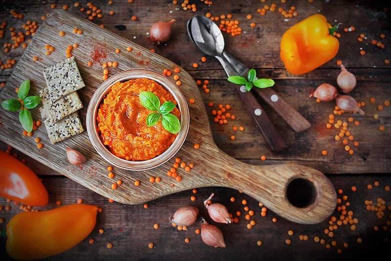 Homemade pate of red lentils and crackers