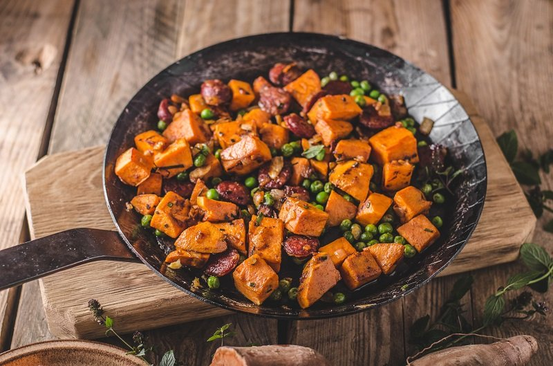 Sweet potato pan vegetable, delish food healthy with onion