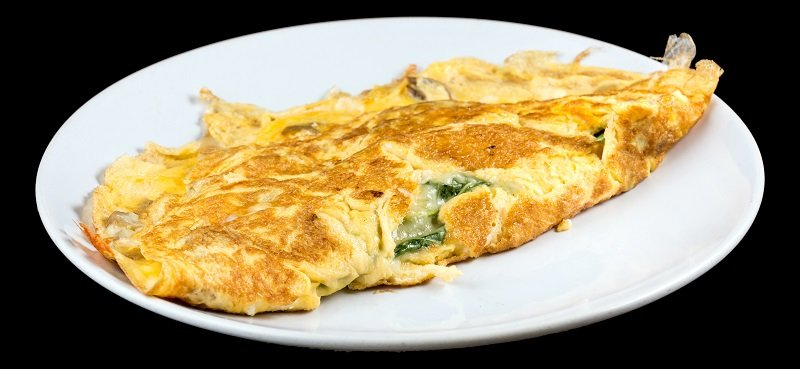 Omelet with organic spinach, cheese and mushrooms