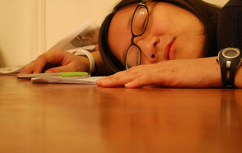 tired student falls asleep while studying