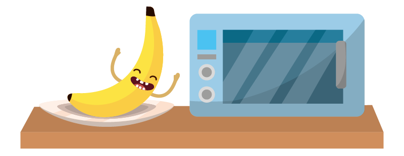 Illustration of banana next to microwave
