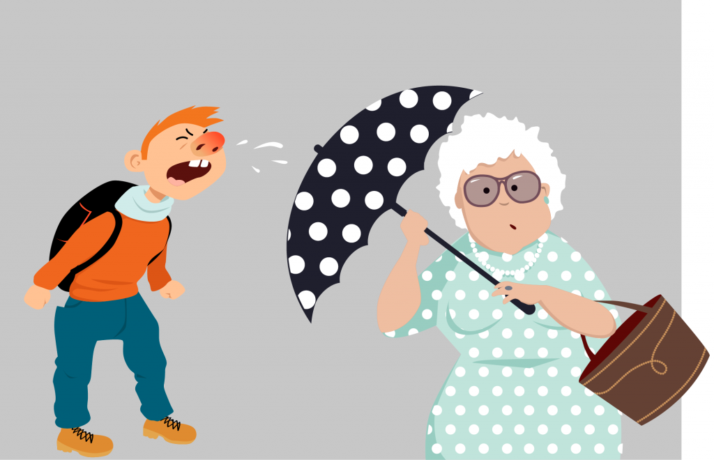 Kid sneezing on elderly who tries to cover herself with an umbrella