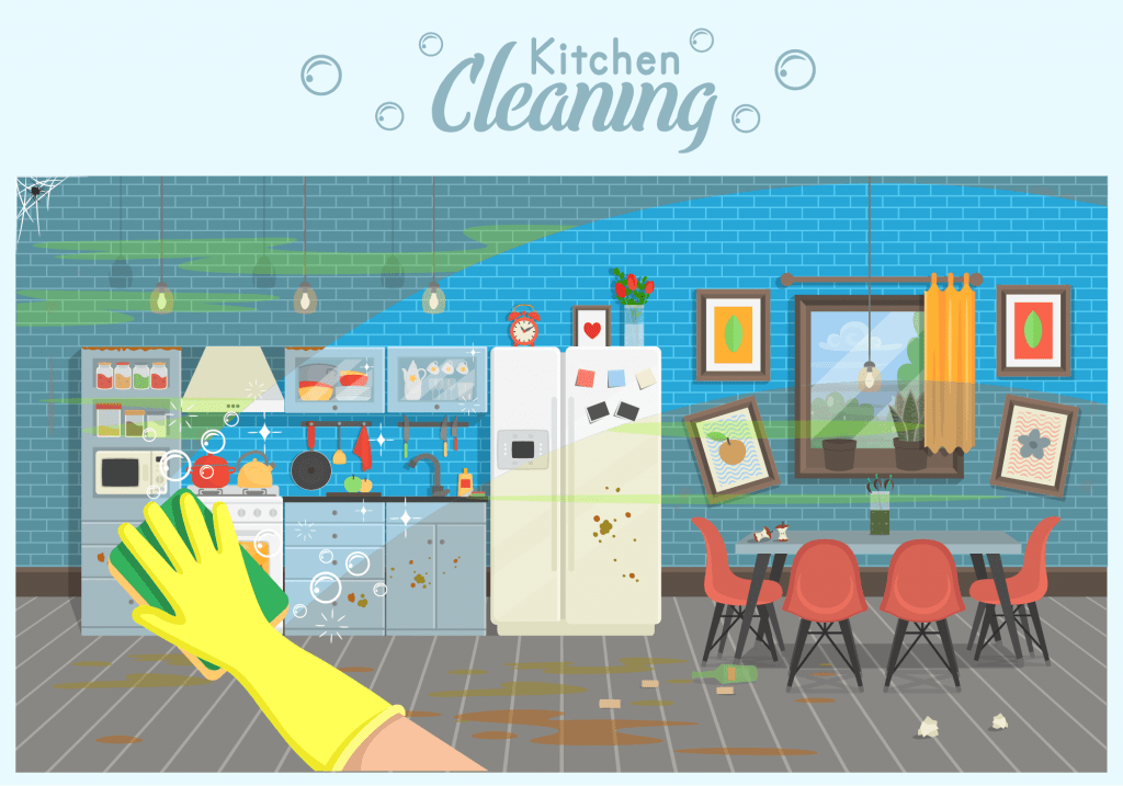 Illustration of kitchen being cleaned