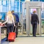 people in airport security line