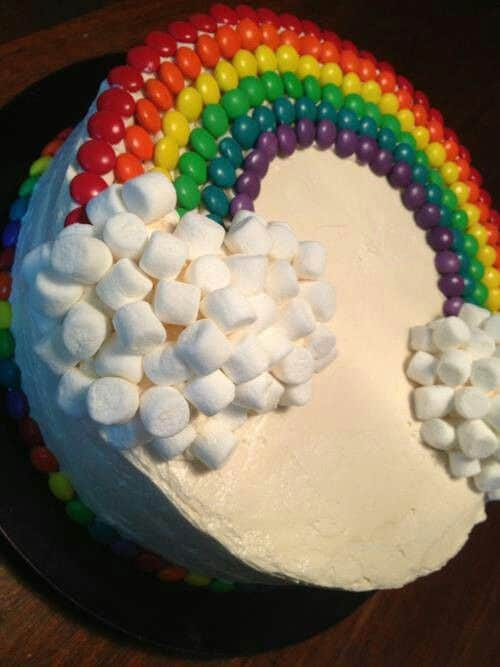 easy ways to decorate a cake wit marshmallows and M&Ms