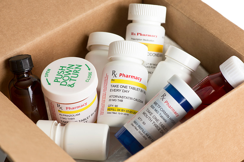 Box stocked with different types of medicine