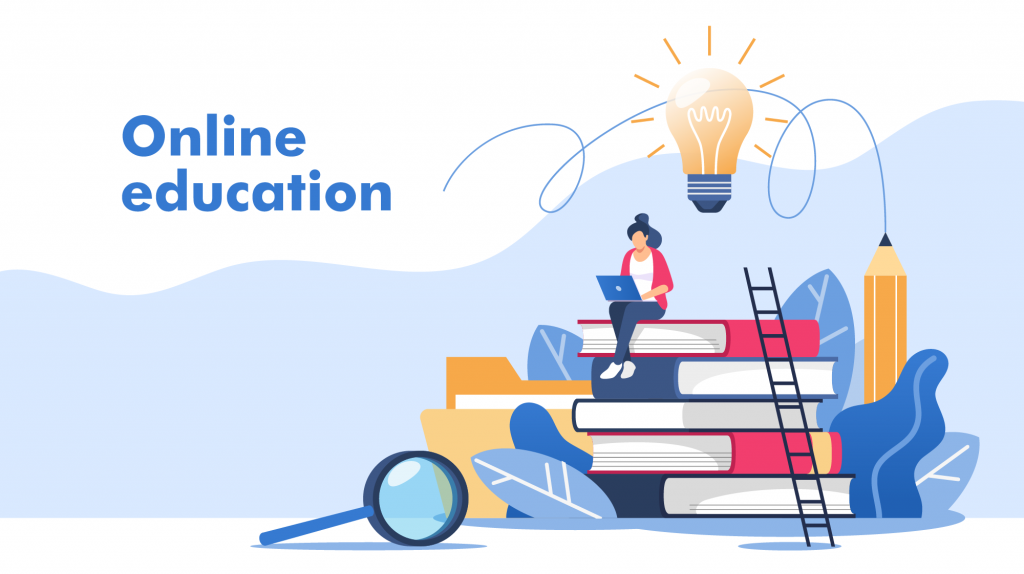 Illustration of online education web graphic