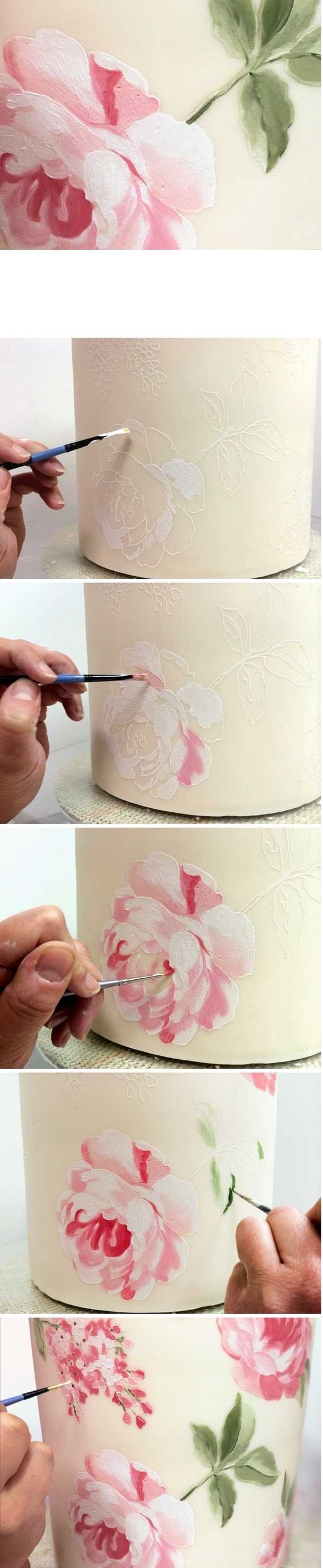 paintbrush and stencil cakes