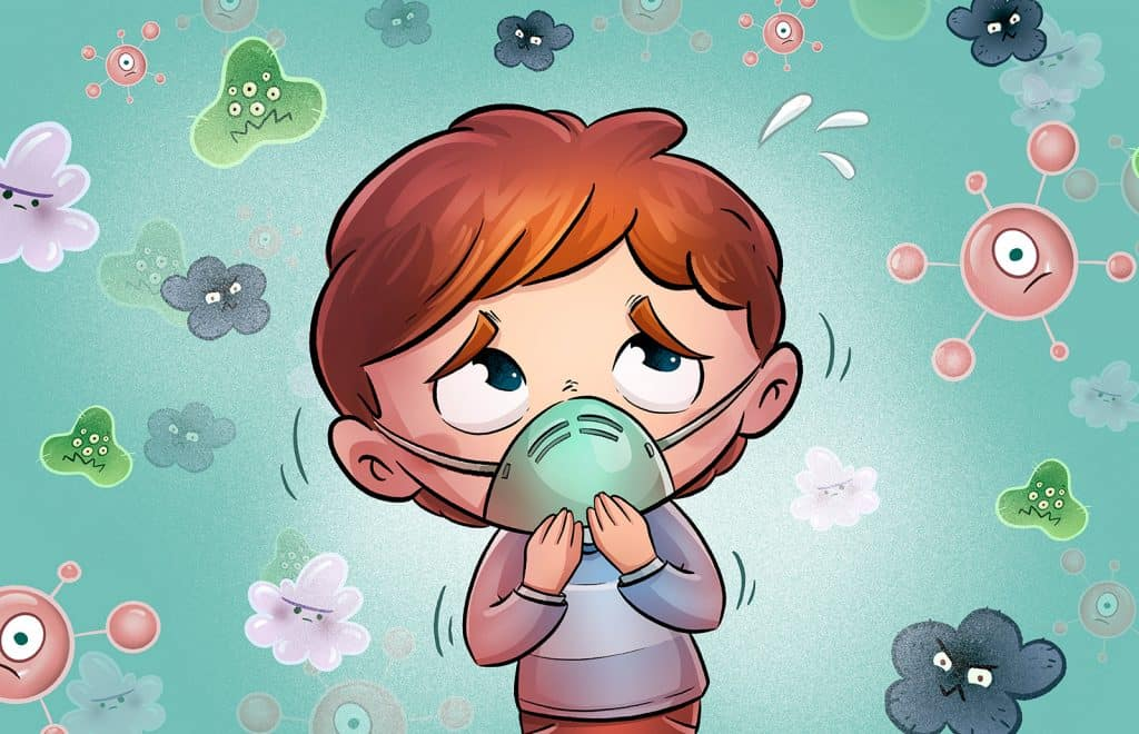 Illustration of small boy looking nervous surrounded by germs