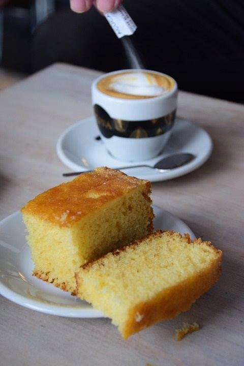 coffee served with delicious sponge cake made using quinoa flour