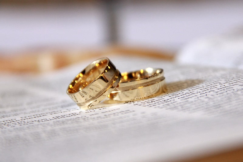 Closeup of two gold rings