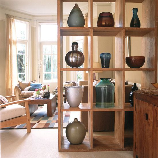 room divider ideas wooden shelving 1