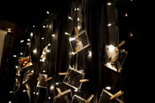 easy ways to display family photos on string lights without frames