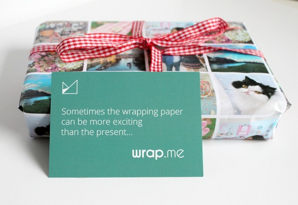 use photos to gift wrap- gift wrapping styles and techniques