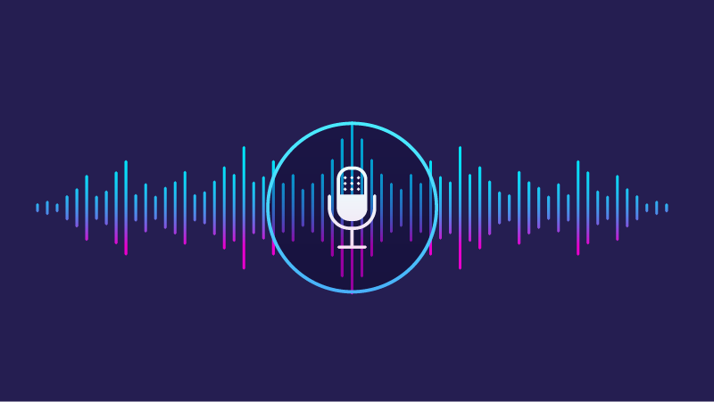 Illustration of voice file with microphone icon