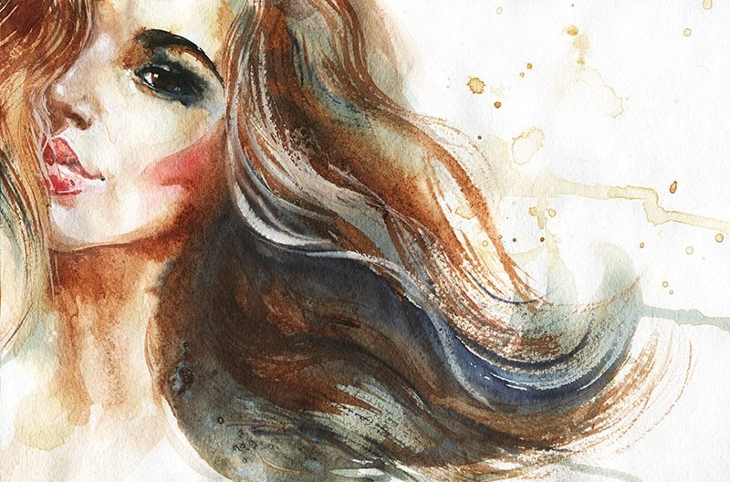 Hand drawn watercolor portrait of girl