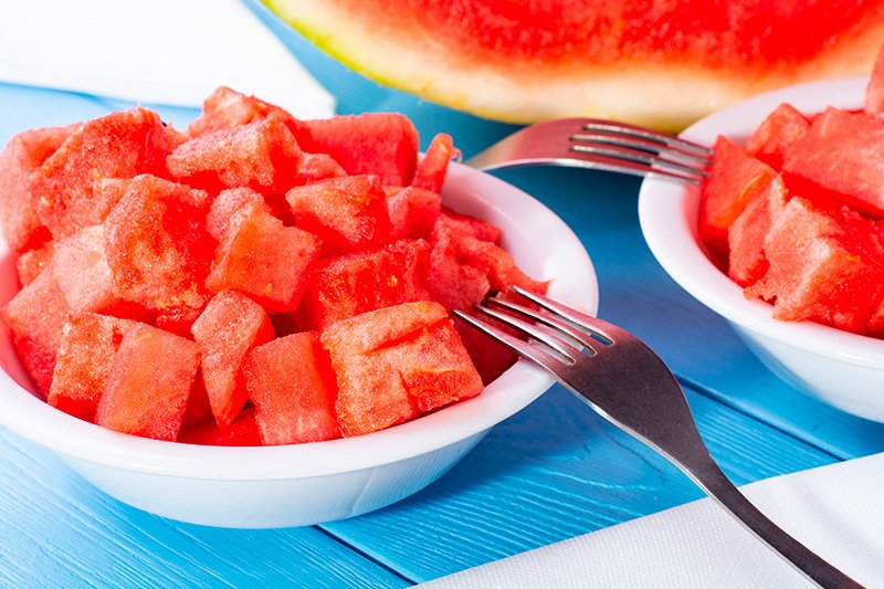 Watermelon cubes in a bowl