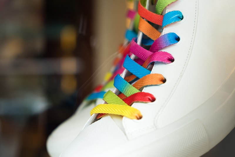 colorful shoelaces on converse or Vans