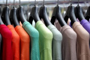 colored clothes on hangers