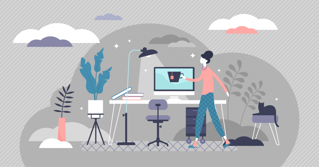 Illustration of a person working from a home office